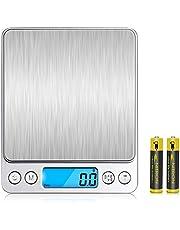 V-supre 廚房秤 數碼秤 電子 秤 輕量 計量 高精度傳感器 計量范圍0.1克~3000克 去皮功能 自動關閉 電子秤 盤狀 調理 制作點心 家庭/辦公室用 附帶7號電池