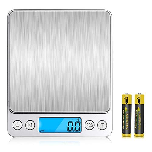 V-supre キッチンスケール デジタルスケール 電子 はかり 軽量 計り 高精度センサー 計量範囲0.1g~3000g 風袋引き機能 自動オフ 電子秤 皿はかり 調理 お菓子作り 家庭/事務所用 単4乾電池付属