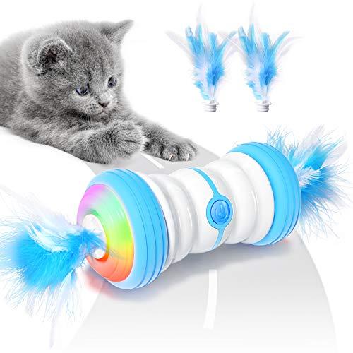 Jionchery Interaktives Elektrischer Katzenspielzeug Automatisch Selbstrotierendes Intelligentes Katzen Spielsachen Feder mit USB Aufladbar & Farbenfrohe LED Leuchten Spielzeug für Katzen