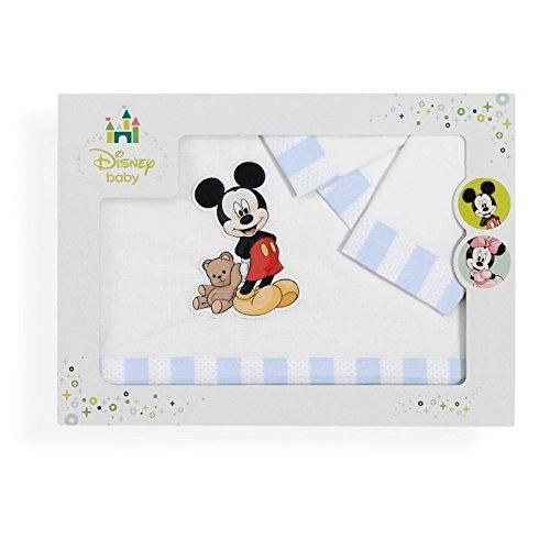 Sabanalia - Juego de sábanas para cuna Mickey (Disponible en varias medidas) - Minicuna (50x80)