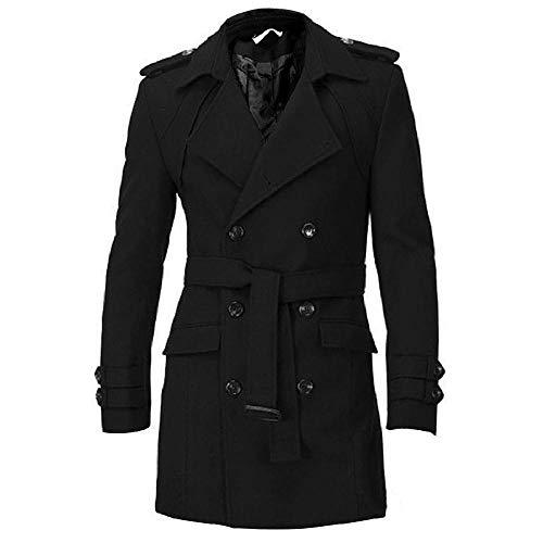 nobrand Herren Schulterklappen Slim Fit Zweireiher Gürtel Kammgarn Mantel Trench Winter Lange Jacke Zweireiher Mantel Wolloberbekleidung