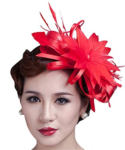 CLOCOLOR Sombrero Tocado fascinator de pelo con pluma de moda Clips sombreros...