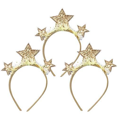 Amosfun 3 Stücke Silvester Haarreif 2020 Stirnband Tiara Neujahr Haarband Glitzer Stern Kopfschmuck Weihnachten Party Haarschmuck Kostüm Zubehör Silvester Dekoration