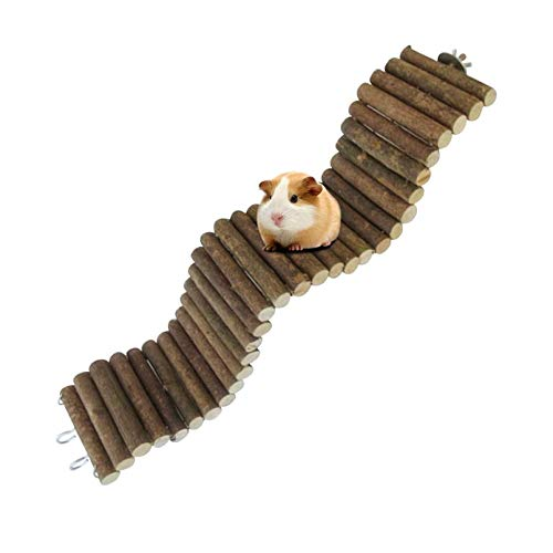 Rat Bendy Long Suspension Bridges,Guinea Pig Bendable Tunnel,Gerbil Wooden Ramp,Chinchilla Cage Large Climbing Ladder,Natural Wood Chews Toys for Small Animal,Rodents,Mouse,Hedgehog,Dwarf Hamster
