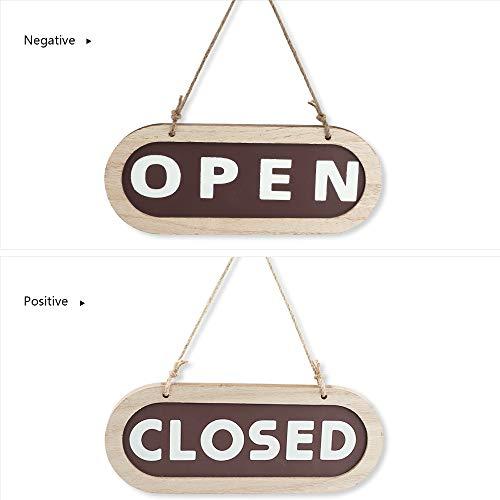 Open Closed Cartello, HICOO Cartello di Legno Targhette per Porte Cartello Pensile Bifacciale per