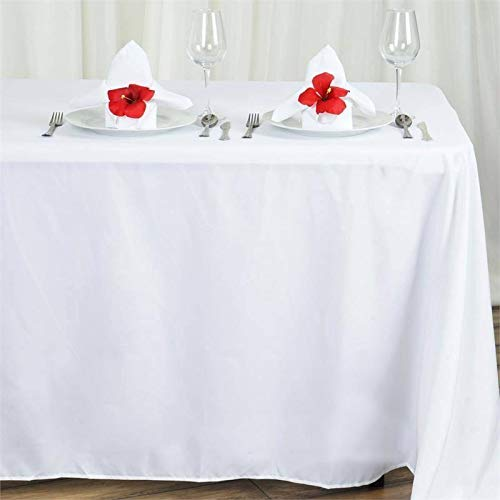 Efavormart 90x156 White Wholesale Rectangle Polyester Tablecloth Linen Wedding Party Restaurant Tablecloth