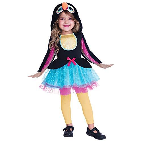 amscan- Disfraz de pájaro tucán, 6-8 años, 1 Unidad, Color Negro, Medium (9905034)