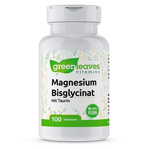 Greenleaves Vitamins - Magnesium Bisglycinat 100 Tabletten 200 mg Taurin. Hohe Dosierung. 100% Vegan.