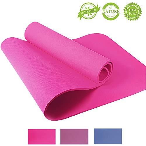 Yogamatte – Yoga Retreat • 8 mm, rosa • inkl. Tasche und Trageband • umweltfreundlich • hypoallergen & hautfreundlich • TPE Sportmatte für Yoga, Gymnastik, Pilates & Fitness • rutschfest • 183x61 cm
