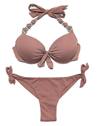 eonar Conjunto de Bikini para Mujer, Push-up Sujetador para El Cuello, Low Waist Bikini Bottom, Ajustable Trajes de baño