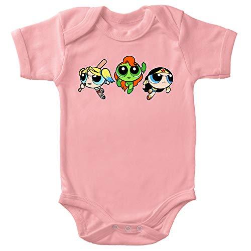 Body bébé (Filles) Rose Super Nanas - Comics Heroines parodique Bulle, Belle et Rebelle en mode Harley Quinn, Poison Ivy et Wonderwoman : Les Super Girls ! (Parodie Super Nanas - Comics Heroines)