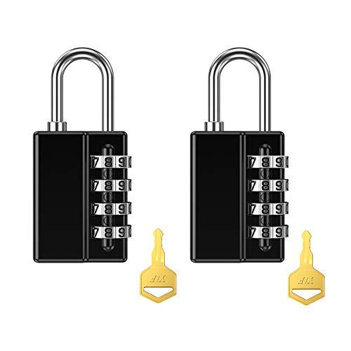 Oria 2 Pack Zahlenschloss mit Schlüssel, 4-Stellige Anti Rost Wetterfeste Vorhängeschloss, Ideal Sicherheit Kombinationsschloss für Schule Gym Locker, Schränke, Tool Box, etc
