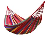 Swingzy Make in India Hammock Hanging Rope Swing-Comfort Durable Yard Striped Foldable Hanging Swing/Hanging Bed for Camping & Outdoor Activities, Indoor Backyards Single Person (197 cm x 80 cm, Red)