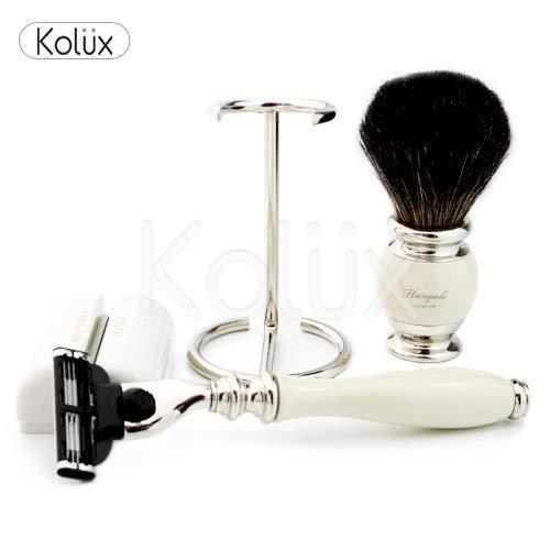 Haryali London Shaving Kit - Le kit de rasage est livré avec un rasoir de sécurité et une brosse de rasage 100% pur blaireau noir - Poignée de qualité supérieure en résine ivoire avec support en acier inoxydable
