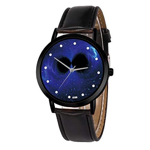 Tongjun Relojes for mujer marca de fábrica superior Señora estrellado cielo de la fantasía del Bowknot reloj Agujero Negro cuero de la hebilla del reloj relojes de pulsera for la Mujer Reloj de cuarzo