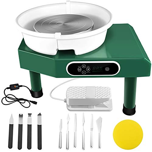 25CM LCD Display Touch Screen Electric Pottery Wheel Machine with Foot Pedal and Removable Basin, Updated 350W Pottery Wheel Machine with 11 Pottery Tools, for Ceramic Work Art Clay (Green)