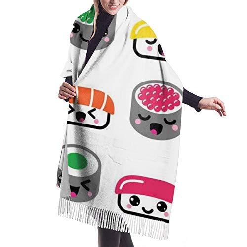 Pashmina Borla Bufanda Kawaii Style Sushi Sonriendo y bostezando Expresiones Concepto de dibujos animados para niños Chal Mantón de Invierno