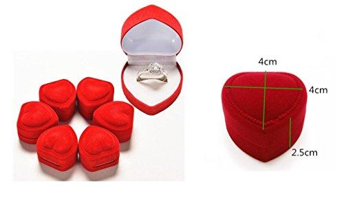 les colis noirs lcn Boîte Coeur Rouge pour Bague - Alliance Ecrin Mariage Coeur Romantique