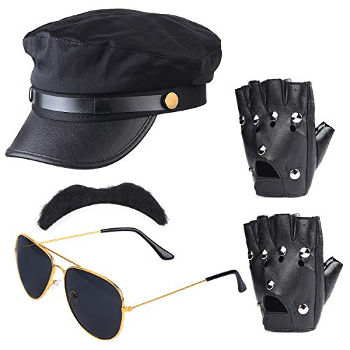 Haichen Chauffeur Accesorios para Disfraces Limo Taxi Driver Theme Sombrero Gafas Guantes Pajarita Kit Disfraz Disfraz de Boda Set de Servicio (Negro1)