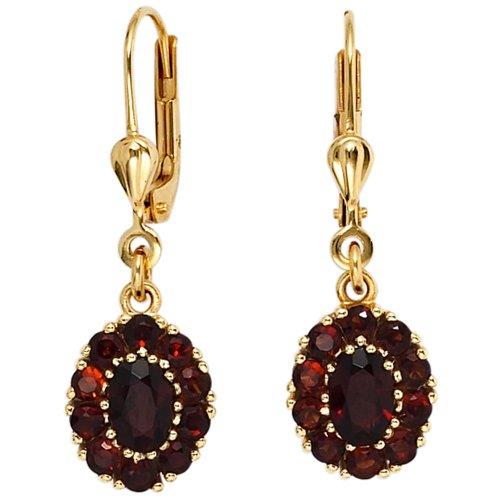 Ohrringe Ohrhänger Boutons Granat rot dunkelrot oval 375 Gold Gelbgold
