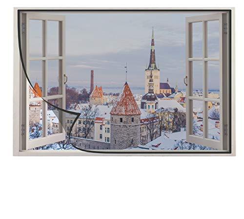 Yurun Fliegengitter Fenstergitter Mückenschutz ohne Bohren mit Polyestergewebe Verschiedene Größen, Schwarz 100x95cm
