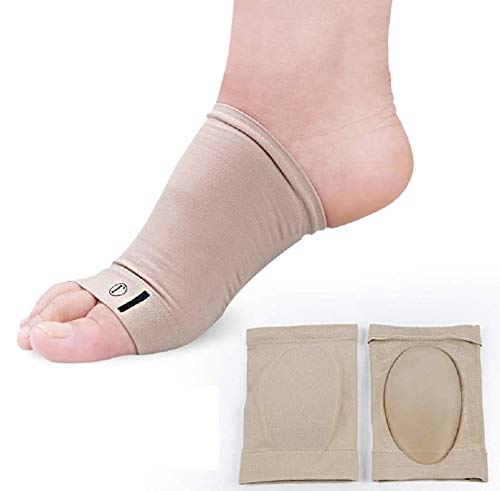 Foot Arch Support Gel 2 Pcs Plantar Fasciitis Heel Spurs Sleeves Inserts Silicon Gel Pads Soft Cushioned Support & Flat Foot Pain Relief Men & Women- Pair