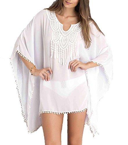 glanzende ster show chiffon kraag bloem kwastjes strand rok los groot formaat zonnebrandcrème Shirt Bikini