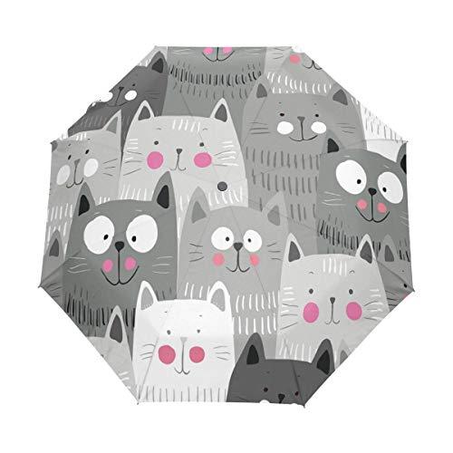 Wamika Regenschirm mit niedlichem Katzen-Motiv, winddicht, wasserdicht, UV-Schutz, lustige rosa Wangen, grau, kompakt, Reise-Regenschirm – 3 Falten, automatisches Öffnen/Schließen, für Sonne und Regen
