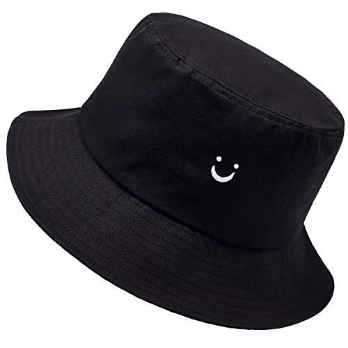 Smile Face Hat Summer Travel Bucket Beach Sun Hat Night Call Embroidery Visor Outdoor Cap (Black