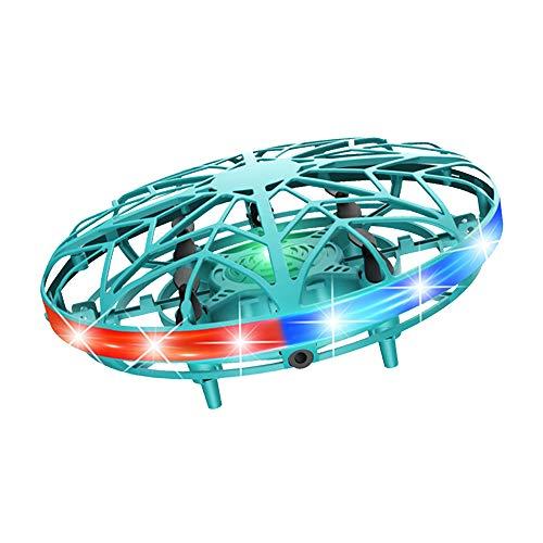 UFO Mini Drohne, Wiederaufladbare Infrarot Induktions Drohne 360 ° Drehung Fliegendes Spielzeug Induktions Drohne mit bunten LED Lichtern für Jungen Mädchen Indoor Outdoor Spielzeug Drohne (Grün)