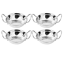 Image of Set of 4 Stainless Steel Balti Dishes