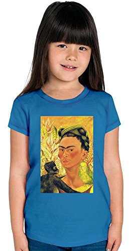Self Portrait with Parrot and Monkey Frida Kahlo Painting Girls T-shirt 12+ yrs