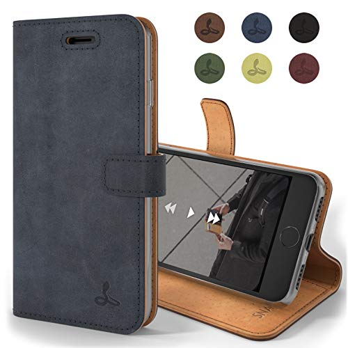 Snakehive Hülle kompatibel für iPhone 8 / Handy Schutzhülle/Klapphülle echt Lederhülle mit Standfunktion, Handmade in Europa - (Marine Blau)