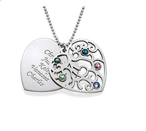 Personalisierte Herz Familienstammbaum Birthstone Halskette Gravur 5 Namen - 925 Sterlingsilber Gold Rose Vergoldung Typenschild