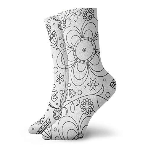 Blanco y Negro Papel Pintado Ocio Deporte Calcetines Cortos 30cm/11.8inch Adecuado Para Hombres Mujeres Regalo Calcetines