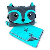 Pillowie - Cute Travel Pillow and Blanket Set - Portable Comfort Item for Children - Raccoon