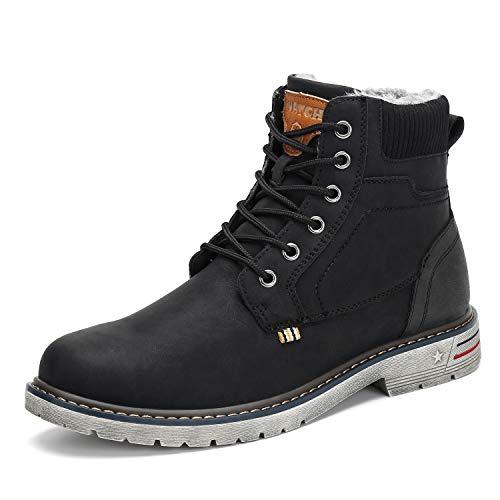 Mishansha Botas Hombre Invierno Impermeables Botines Trekking Botas de Nieve Outdoor Antideslizantes Zapatos Fur Forro Boots Negro 45 EU