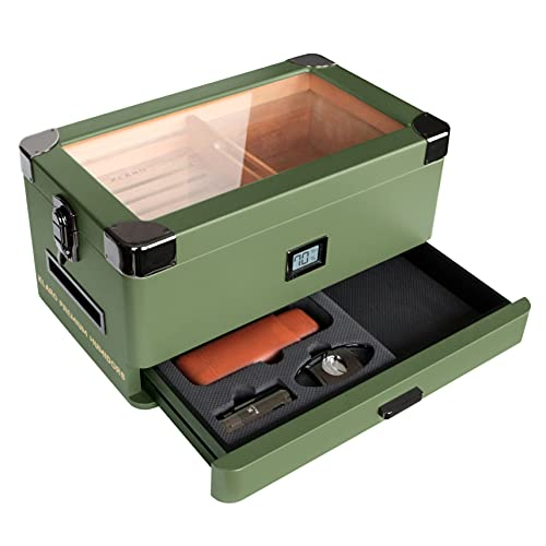 Military Glass Top Humidor Matte Green with Front Digital Hygrometer, Spanish Cedar, Humidor Solution, Hydro System, and Accessory Foam Drawer - Holds (50-100 Cigars) by Klaro