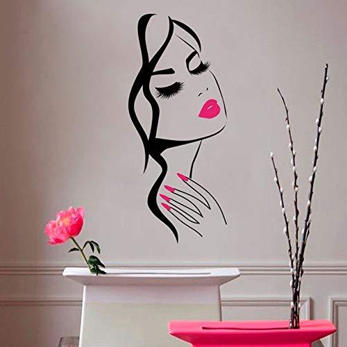 Wandaufkleber 38 cm X 90 cm Tapetensticker Kosmetik-Salon Maniküre Nagelstudio Hand Mädchen Gesicht Vinyl Sticker Home Decor Friseur Frisur Wall Sticker
