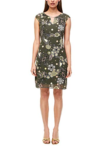 s.Oliver BLACK LABEL Damen Kleid mit Schmuck-Detail Khaki Ornamental Print 42