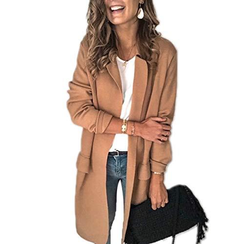 Giacca da donna, elegante, a maniche lunghe, slim fit, casual, tinta unita, con tasca frontale aperta, cappotto cardigan Kaki M