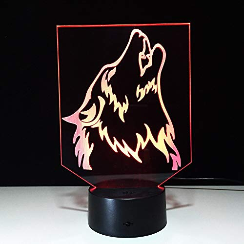 Suhang Wolf 3D-wandlamp, led-nachtlampje, powerbank, wandlamp, wireless LED, USB, home geschenk, 7 kleuren wisselend 7 Colors Change