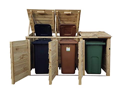 Wheelie Bin Storage Pressure Treated Garden Recycling Store Lid Shed Outdoor Trash Cover (Triple, Light Green (Natural))