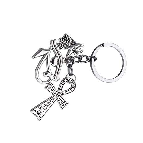 KESYOO Kreuz Schlüsselanhänger Horusauge Form Anubis Figur Ankh Kreuz Anhänger Symbol des Alten Ägypten Glücksbringer Amulett Zinklegierung Schlüsselbund Familien Freunde Geschenk