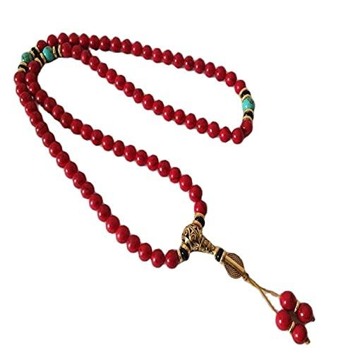 jwj Buda con cuentas sujetador Tíbet Tibetano rojo Bodhi budista Buda preocupación oración cuentas Mala pulsera o collares para hombre Buda