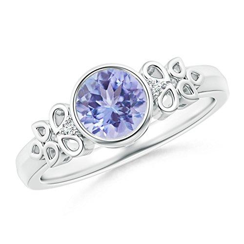 Cyber Montag bieten–Rund Tansanit und Diamant Vintage Ring mit Blütenblatt Carving