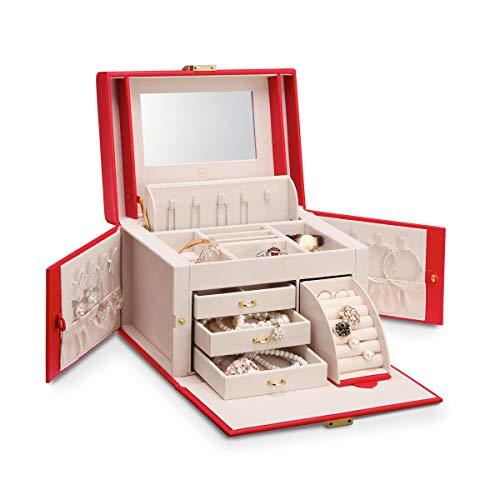 Vlando, portagioie organizer con specchio per ragazze e donne, in similpelle, vintage, in confezione regalo Rosso