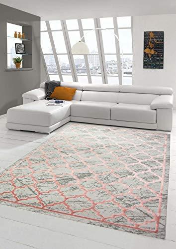 Merinos Teppich modern Wohnzimmer Teppich Marokkanisches Muster in Grau Rosa Größe 160x230 cm