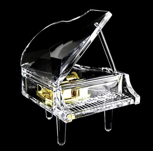 UTowels Mechanical Wind-up Music Box with LED Lights Transparent Acrylic Melody Castle in The Sky Carrying You (Piano)