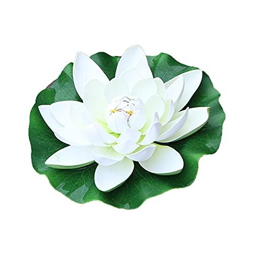 WGGTX 1 pz 28 cm Bianco Simulazione di Loto Fiore di plastica Bonsai all'aperto Pesce Serbatoio cisterna paesaggistica Piante in Vaso Fiori